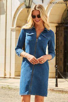 Sosandar Blue Zip Front Denim Shift Dress