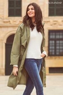 Sosandar Khaki Lightweight Zip Front Jacket