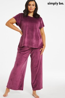 Simply Be Purple Pretty Secrets Velour Lounge Set