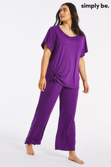 Simply Be Purple Pretty Secrets Luxury Tie Front Top and Culotte Set