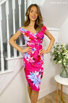 Sistaglam Multi Loves Jess Floral Wrap Dress