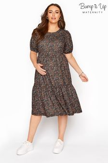 Bump It Up Black Maternity Floral Tiered Smock Dress