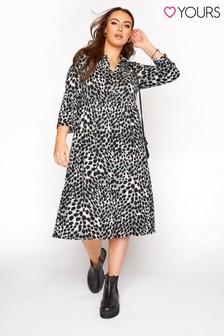 Yours Grey Animal Print Midi Dress