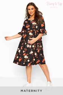 Bump It Up Black Maternity Floral Ruffle Sleeve Dress