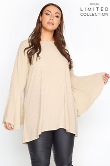 Yours Limited Nude Ribbed Flare Sleeve Top