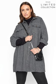 Yours Limited Grey Dogtooth Check Shacket