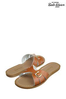 Salt-Water Sandals Tan Leather Slides Sandal