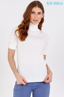 Blue Vanilla Ivory Cable Knit Roll Neck Short Slv Top