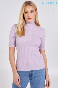 Blue Vanilla Lilac Cable Knit Roll Neck Short Slv Top