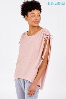 Blue Vanilla Pink Drawstring Ruched Sleeve Shoulder Top