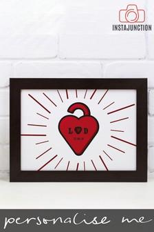 Personalised Love Lock Framed Print by Instajunction
