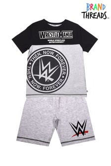 Brand Threads Black WWE Boys Short Pyjamas