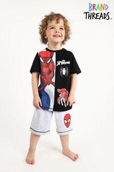 Brand Threads Black Spiderman Boys Short Pyjamas