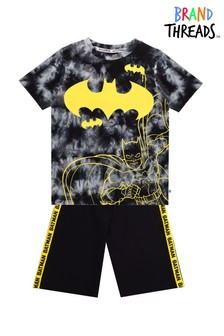 Brand Threads Black Batman Boys Short Pyjamas