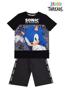 Brand Threads Black Sonic Boys Short Pyjamas