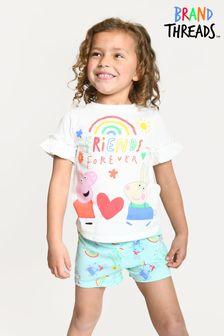 Brand Threads White Girls Peppa Pig Short Pyjamas