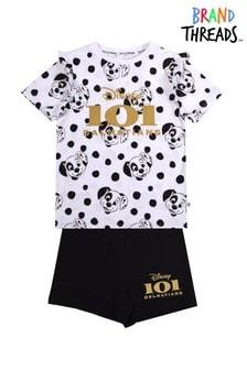 Brand Threads White Girls 101 Dalmatian Short Pyjamas