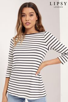 Lipsy Navy Stripe Regular Boat Neck Top