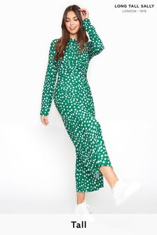 Long Tall Sally Green Polka Dot Twist Front Jumpsuit