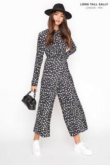 Long Tall Sally Black Polka Dot Twist Front Jumpsuit