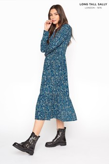 Long Tall Sally Blue Floral Smock Midi Dress