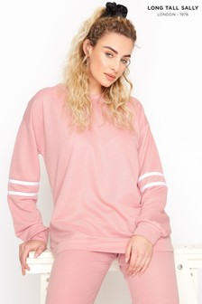 Long Tall Sally Pink Varsity Stripe Co-ord Sweatshirt