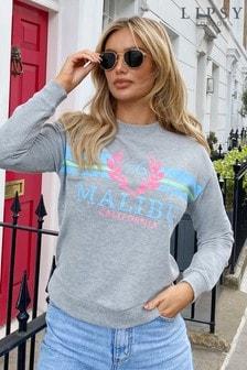Lipsy Grey Malibu Lightweight Short Sleeve Sweatshirt