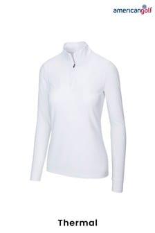American Golf White Peached Heather 1/4 Zip Ladies Midlayer