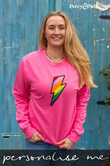 Percy & Nell Pink Embroidered Lightning Bolt Slogan Sweatshirt