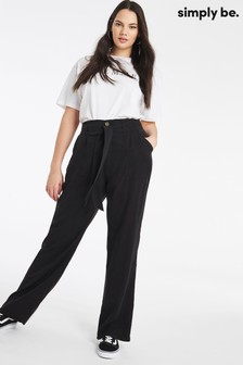 Simply Be Black Belted Wide Leg Trousers