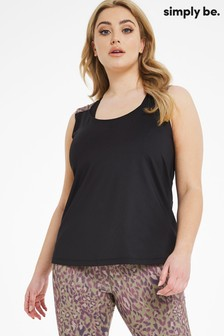 Simply Be Black Open Back Active Vest