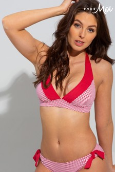 Pour Moi Red Positano Removable Cup Halter Top