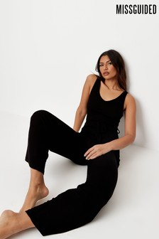 Missguided Black Ribbed V Neck Belted Wide Leg Jumpsuit
