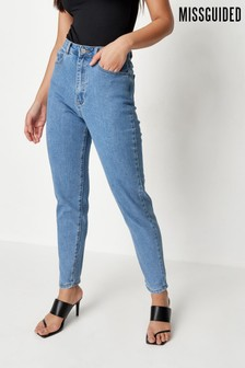 Missguided Blue High Waisted Comfort Stretch Mom Jean