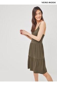 Vero Moda Ivy Green Jersey Cami Smock Dress