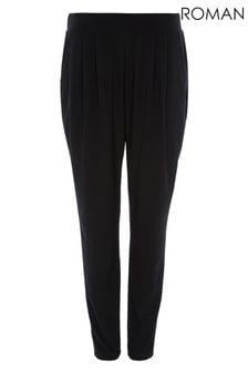 Roman Black Jersey Stretch Harem Trousers
