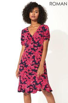 Roman Pink Floral Print Frill Hem Tea Dress