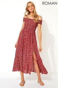 Roman Red Floral Shirred Bardot Maxi Dress