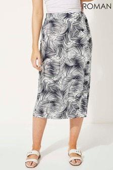 Roman Navy Tropical Palm Print Mock Button Pencil Skirt