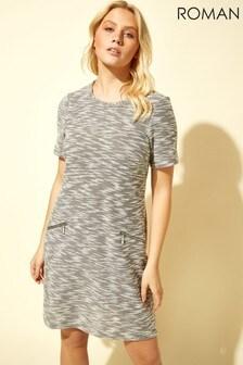 Roman Grey Tweed Zip Pocket Shift Dress