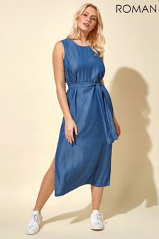 Roman Blue Belted Denim Midi Dress