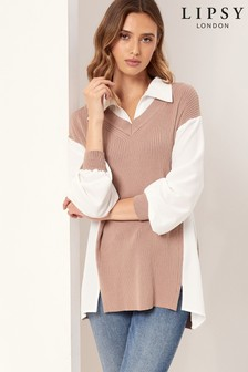 Lipsy Camel Knitted 2 in 1 Layering Jumper