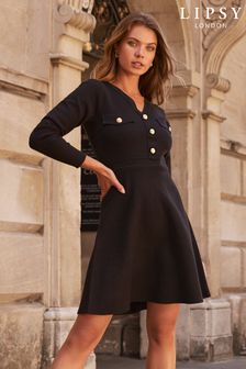 Lipsy Black Regular Knitted Fit and Flare Dress