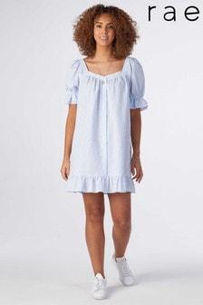 Rae Blue Stripe Mia Puff Sleeve Swing Dress