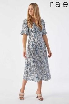 Rae Blue Animal Rosie Midi Tiered Tea Dress