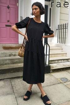 Rae Black Jade Pleat Sleeve Tiered Midi Dress