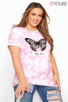Yours Pink Curve Tie Dye Butterfly T-Shirt