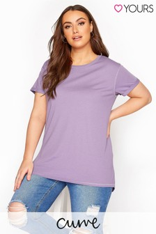 Yours Purple Curve Dipped Hem T-Shirt
