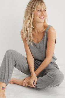 Aerie Grey Everyday Track Jumpsuit