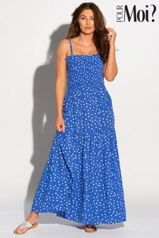 Pour Moi BlueWhite Removable Straps Tiered Skirt Maxi Dress